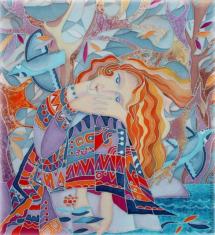 Купить Аленушка - оранжевый, голубой, белый, коричневый, красный, синий, Батик, портрет, пейзаж, Живопись