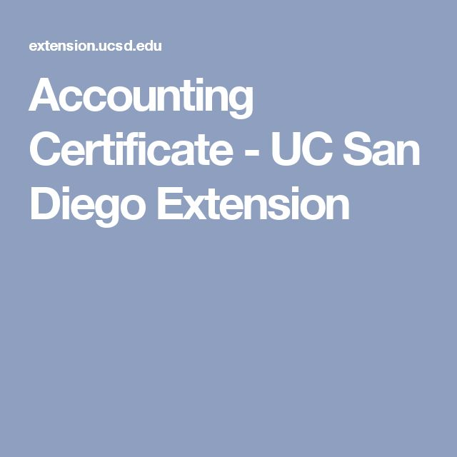 Accounting Certificate - UC San Diego Extension