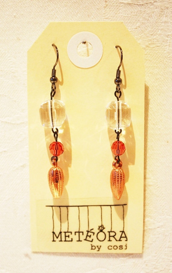 Copper & Crystal beads on Black Chain by meteorabycosi on Etsy, $8.00