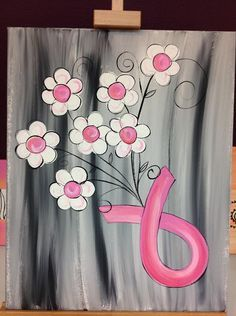 October 10 & 11 canvas project. Proceeds from this class will go to breast cancer awareness projects.