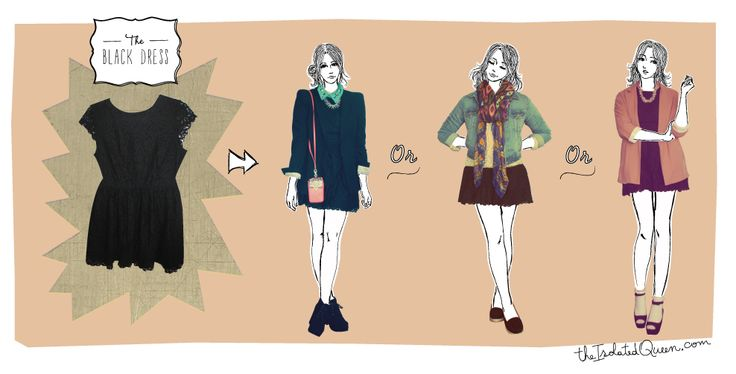 Give that black dress more chances on www.theisolatedqueen.com #illustration #drawing #graphic #art #style