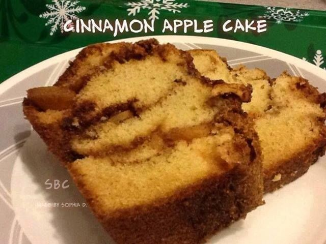 "CINNAMON APPLE CAKE heart emoticon Ingredients... 1/2 c sugar 1/2 c softened butter 2 eggs 1 1/2 c flour 1 1/2 t vanilla extract 1 3/4 t baking powder 1/2 c skim milk 1 apple, peeled and chopped 1/4 c brown sugar (not packed) 1 t cinnamon Directions... Preheat oven to 350 degrees F. Grease and flour a 5""x 9"" loaf pan. Bowl #1: In a bowl, mix cinnamon and brown sugar... Set aside. Bowl #2: Using an electric mixer, beat sugar and butter till smooth. Add eggs one at a time... Blend well... ..."