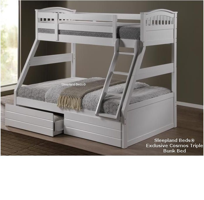 White Triple Bunk Beds New Solid Wooden Three Sleeper Bed Mattres
