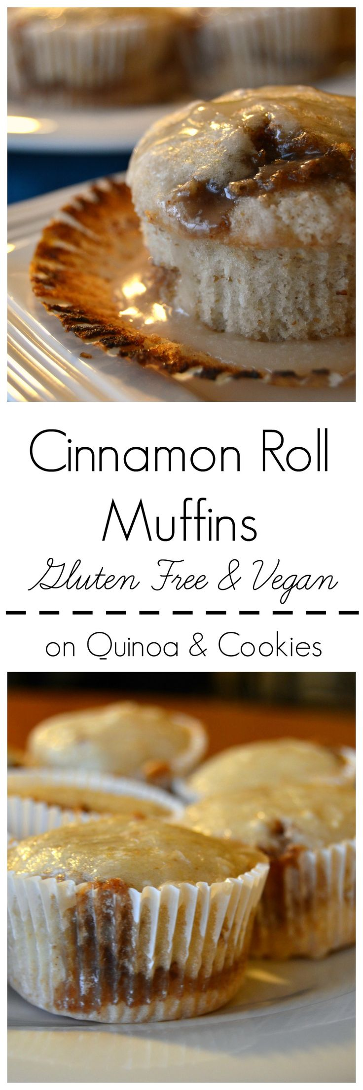 These cinnamon roll muffins taste just like the center of a cinnamon bun, without having to spend time rolling them out and letting them rise! Gluten free and vegan, on Quinoa and Cookies