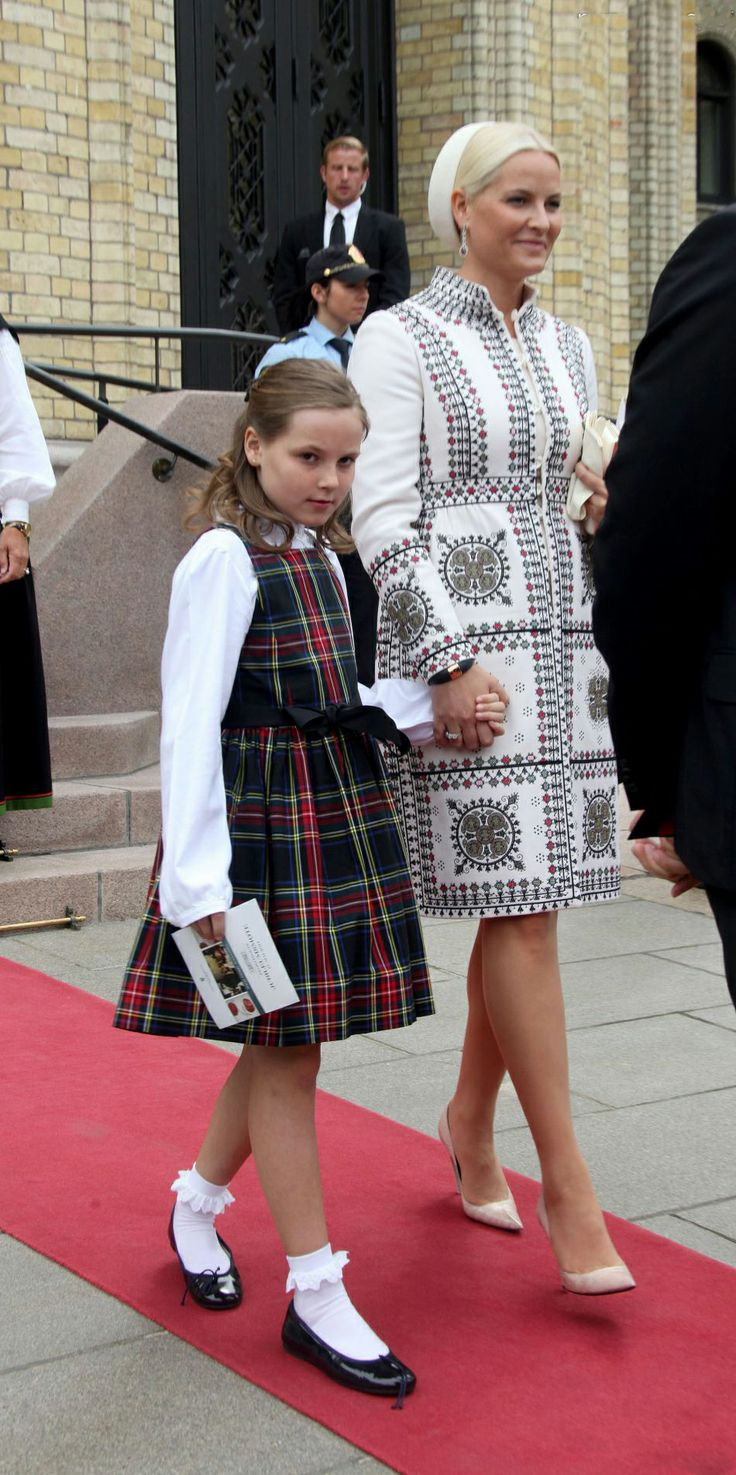 Norwegian Princess Ingrid Alexandra with her mother Crown Princess Mette-Marit during the special ceremony for the 2014 bicentenary of the Norwegian Constitution in Oslo