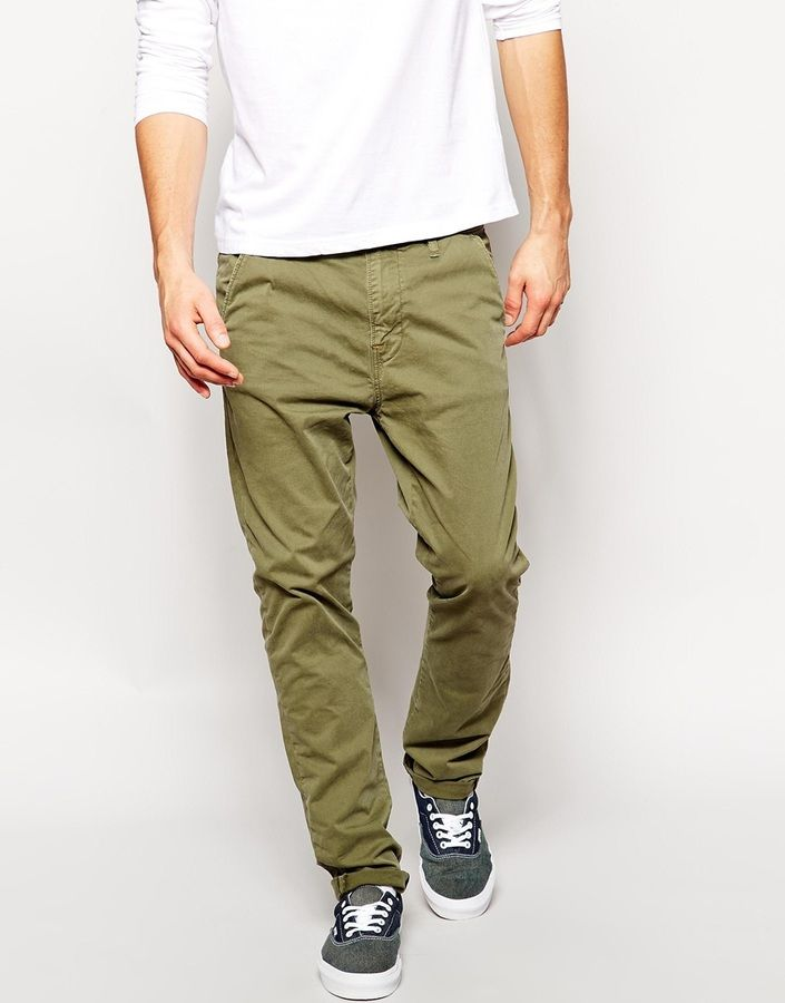 $129, Olive Chinos: Nudie Jeans Khaki Slim Fit Leaf Green Wash. Sold by Asos. Click for more info: https://lookastic.com/men/shop_items/192261/redirect