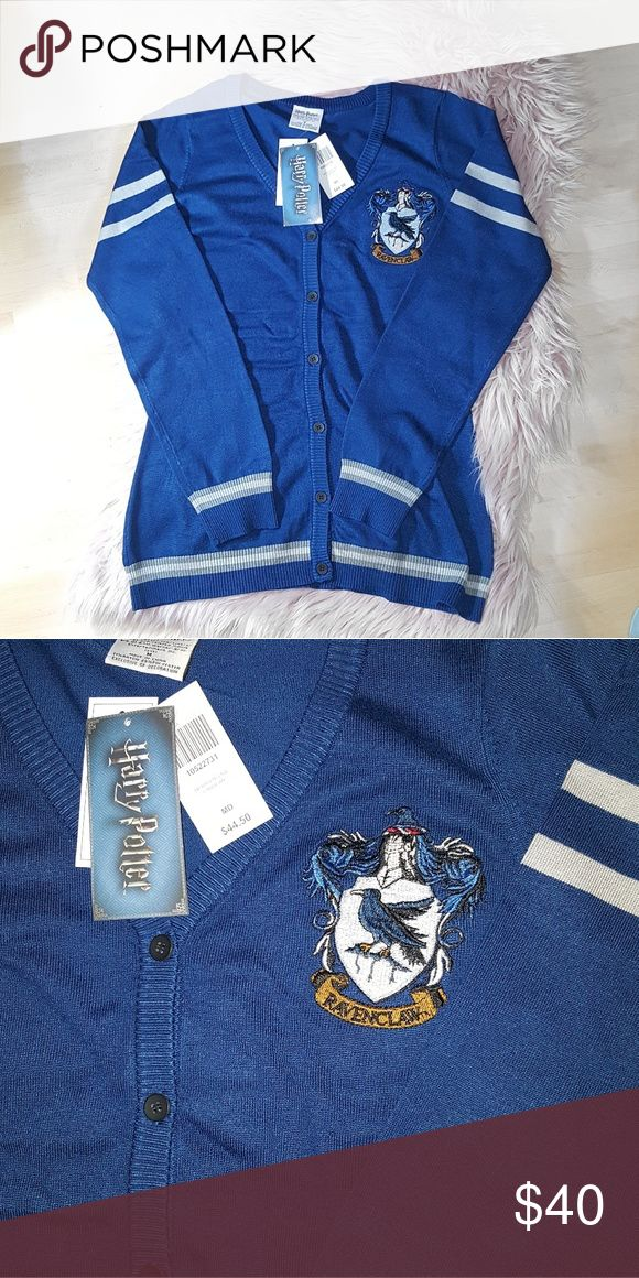 Harry Potter Ravenclaw Cardigan Blue Medium Brand New With Tags Forgot I got this, and alas I have come to terms I actually belong in Gryffindor.   71% rayon; 29% polyester Hot Topic Sweaters Cardigans