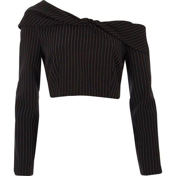 3e3b28c7c2 River Island Black pinstripe twist bardot crop top ($56) ❤ liked on Polyvore  featuring tops, black, crop tops / bralets, women, pinstripe crop top, ...