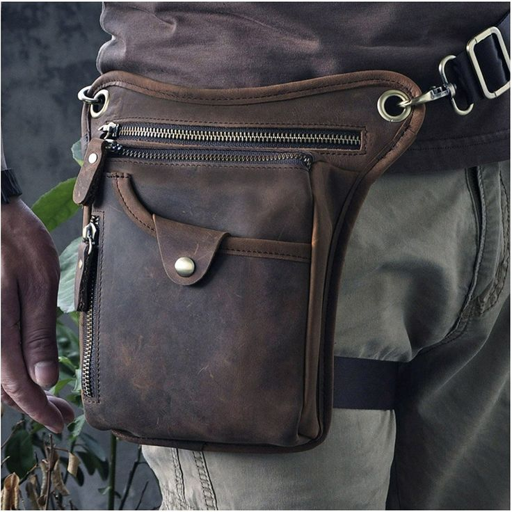 Amazon.com   Le'aokuu Mens Genuine Leather Messenger Riding Hip Bum Waist Pack Drop Leg Cross Over Bag (The 211-5 Dark Brown)   Briefcases