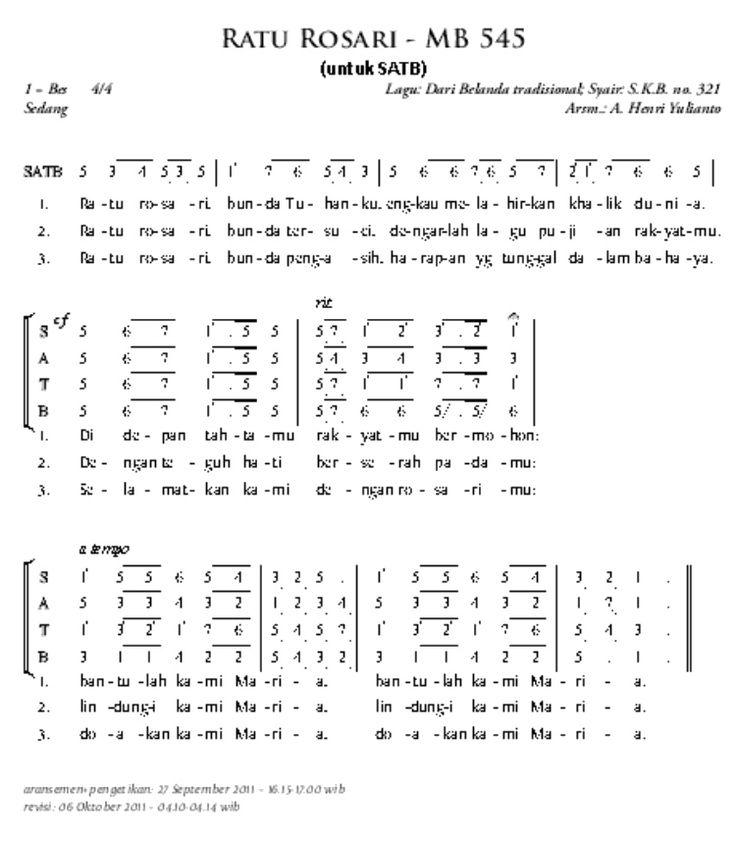 Ratu Rosari - misa.lagu-gereja.com | lagu gereja katolik | MADAH BAKTI NOT ANGKA | PUJI SYUKUR KATOLIK | Lagu Perkawinan Katolik