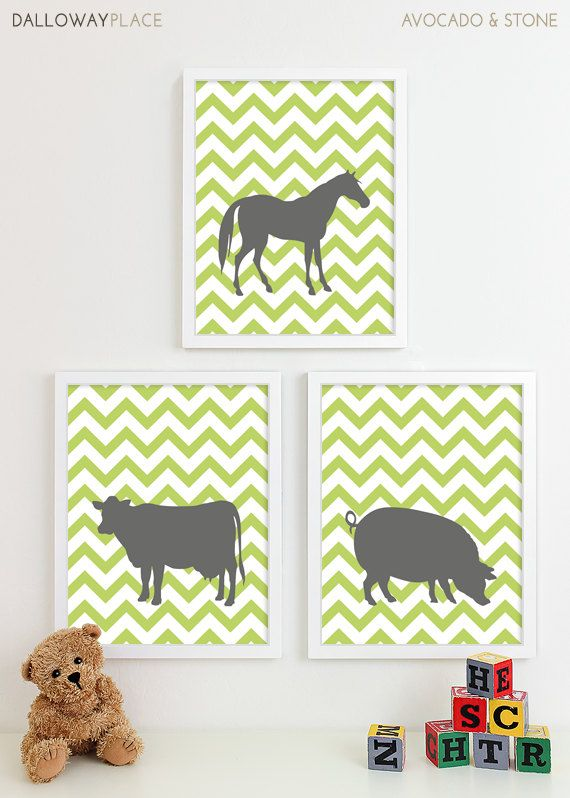 Farm Animal Nursery Art Prints Horse Chevron by DallowayPlaceKids
