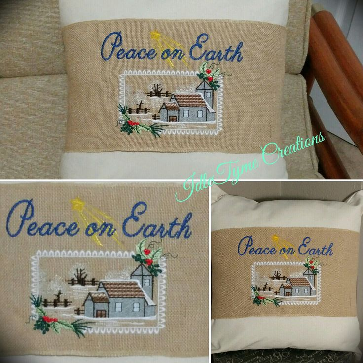 "I love this wintery country scene with the words ""Peace on Earth"" embroidered above it. Pillow bands are a great way to make seasonal decor changes!"