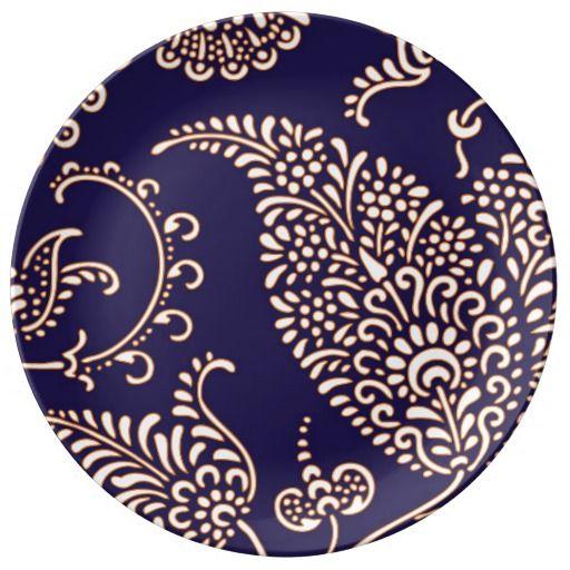 Damask vintage paisley girly floral henna pattern dinner plate