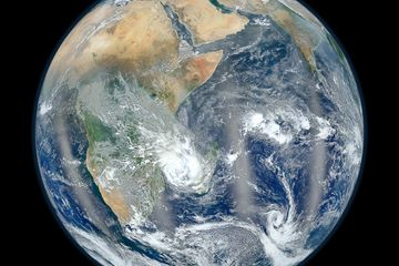 """This photo from NASA's Suomi NPP satellite shows the Eastern Hemisphere of Earth in """"Blue Marble"""" view."""