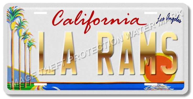 Los Angeles California LA RAMS NFL Football Team Vanity License Plate Tag 10