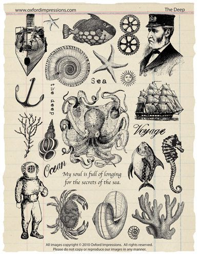 The Deep Rubber Stamp Collection  Jules Verne by oxfordimpressions, $24.00