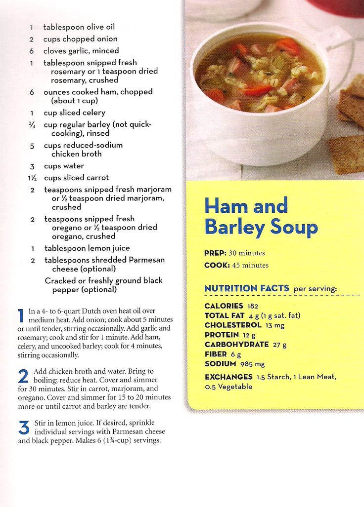 Ham and Barley Soup - From Better Homes and Gardens - Eat Well, Lose Weight