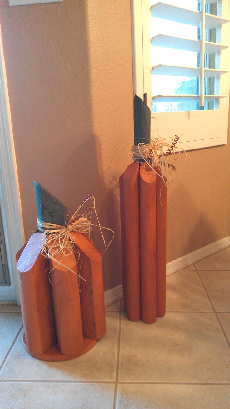 I made these pumpkins with two different size/type of timbers.The tall one is 31 in. short one is 21 in.~Aleane