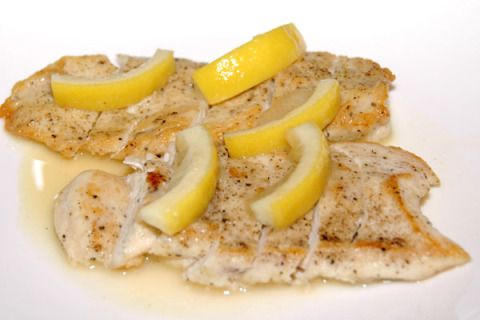 If chicken's more your thing, give this quick-and-dirty recipe a try—perfect for a last-minute throw-together, since you probably already have all the ingredients in your kitchen already.  YOU'LL NEED…  2 boneless, skinless chicken breasts  1 tablespoon unsalted butter  1 tablespoon olive oil  1/4 cup flour  1/2 teaspoon kosher salt  1/8 teaspoon ground pepper  2 tablespoons dry white wine, chicken broth, or water  4 thin fresh lemon slices  1-1/2 tablespoons lemon juice  1-1/2 tablespoons…