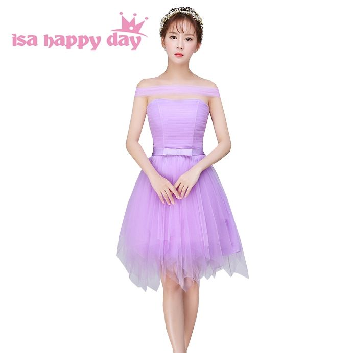 special occasion women off the shoulder bridesmaid robes simple lilac short  bridesmade dress length girls party b5760c052a9e