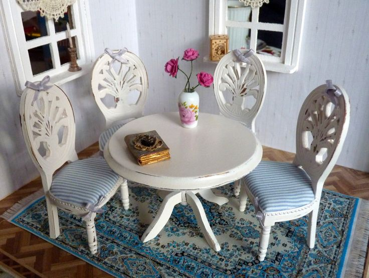 1:12 Dining Table With 4 Chairs   Seating Puppenhaus Miniature Shabby Chic  With