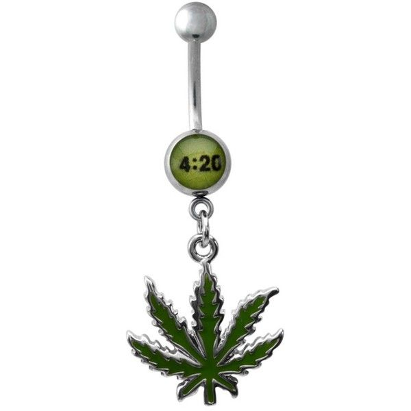 4:20 Weed Dangling Belly Ring | Weed Dangling Belly Rings ($7.99) ❤ liked on Polyvore featuring jewelry, rings, dangle navel rings, dangle ring, belly button rings, belly rings jewelry and leaf ring