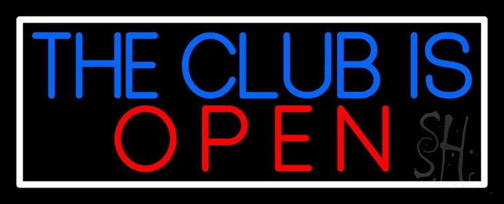 The Club Is Open With White Border Neon Sign 13 Tall x 32 Wide x 3 Deep, is 100% Handcrafted with Real Glass Tube Neon Sign. !!! Made in USA !!!  Colors on the sign are Red, Blue and White. The Club Is Open With White Border Neon Sign is high impact, eye catching, real glass tube neon sign. This characteristic glow can attract customers like nothing else, virtually burning your identity into the minds of potential and future customers.