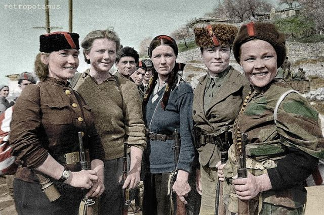 Soviet women partisans who fought bravely in the WWII guerilla war against Nazi German invaders of Russia.