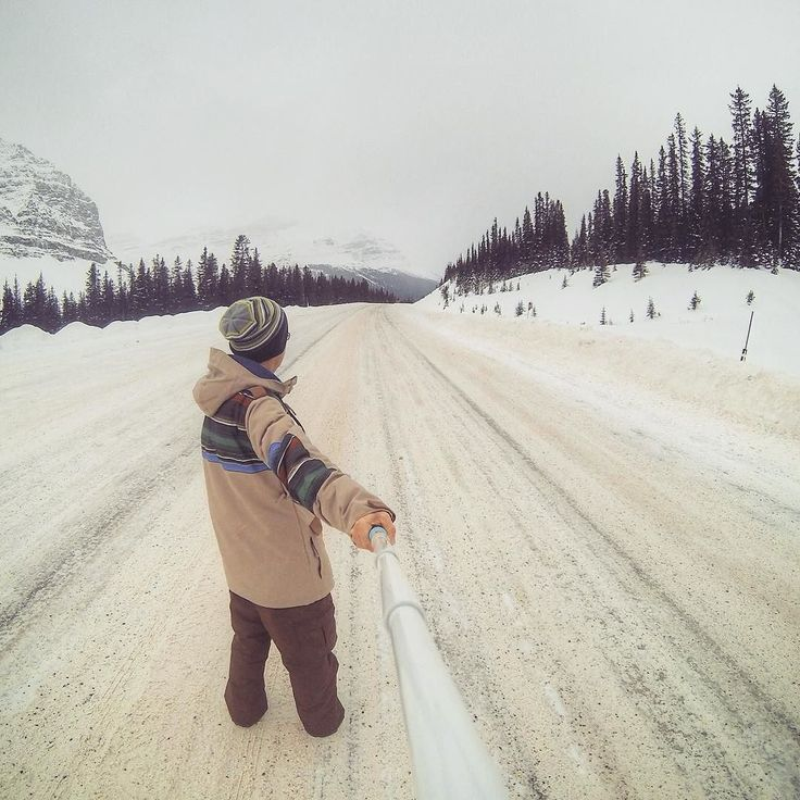 When #road_tripping #Canada in #winter #time. This in #Banff #National #Park #Alberta @ -28 deg Celsius. Making our way up to #Jasper. #backpacking #travel #travelorbust #awesome #winter #cold #snow #ice #highway #banffnp #parkscanada #selfie #gopro #goproselfie