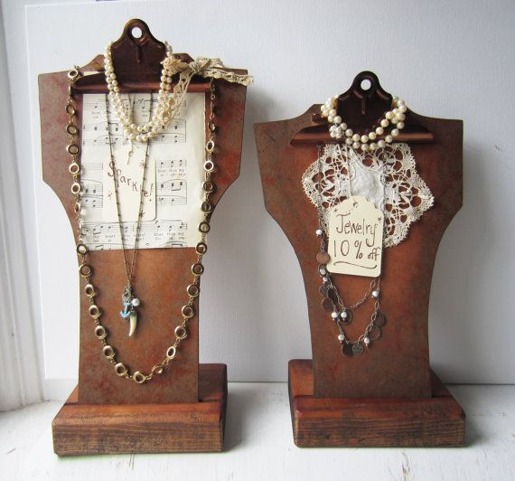 Here is a necklace bust display using a clipboard. There are so many options with this display; clip necklaces, I love these and may change over to these at some point since they would be thinner and easier to carry.