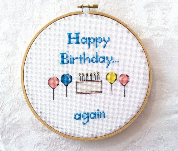 """PDF Pattern: Subversive cross stitch, """"Happy Birthday...again"""", cake and balloons, funny digital download"""