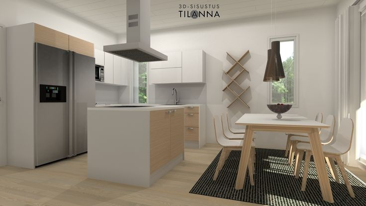 3D- visualisointi ja sisustussuunnittelu uudiskohteeseen/ Modernin rivitalon keittiö, valkovahattu tammiparketti, valkoiset rungot, valkoiset ja tammiviiluiset ovet  kiintokalusteissa, helmenharmaa välitilalaminaatti, secto valaisimet/ Keski-Suomen Rakennuskeskus, rivitalo Hollitaipaleentie 10, ennakkomarkkinointi/ 3D-sisustus Tilanna