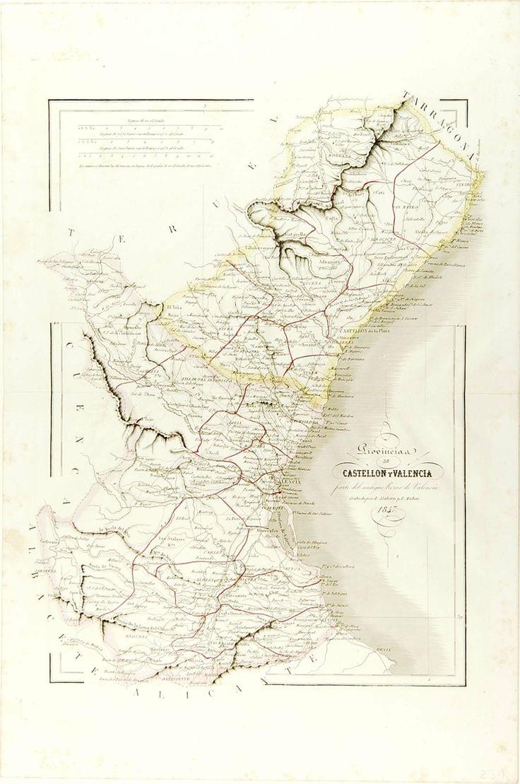 Provincia de Castellon y Valencia,  parte del antiguo Reino de Valencia. Grabado por R. Alabern y E. Mabon, 1847. Escala: ca. 1:584.700