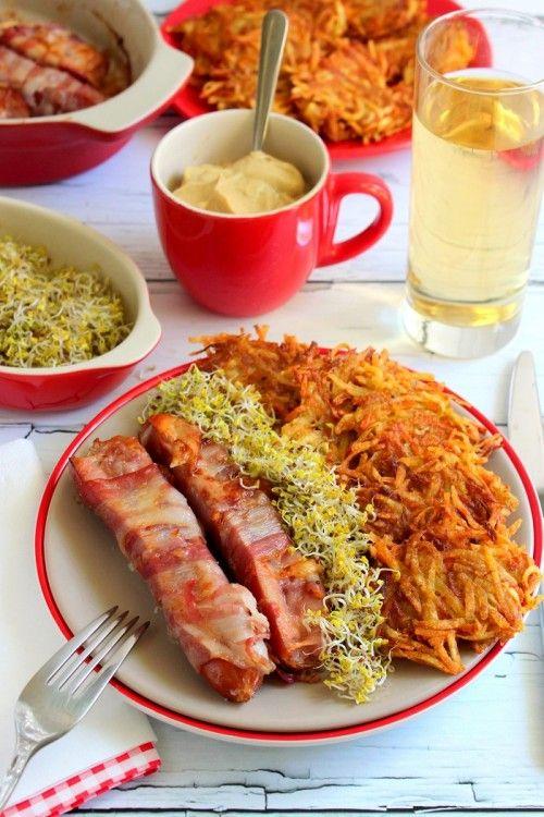Sült virsli sárgarépás burgonyarösztivel recept