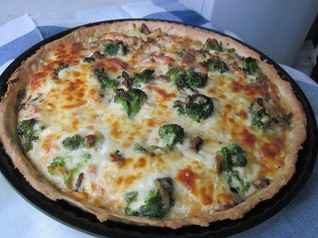 Как приготовить лоранский пирог с курицей, грибами и брокколи - рецепт, ингридиенты и фотографии