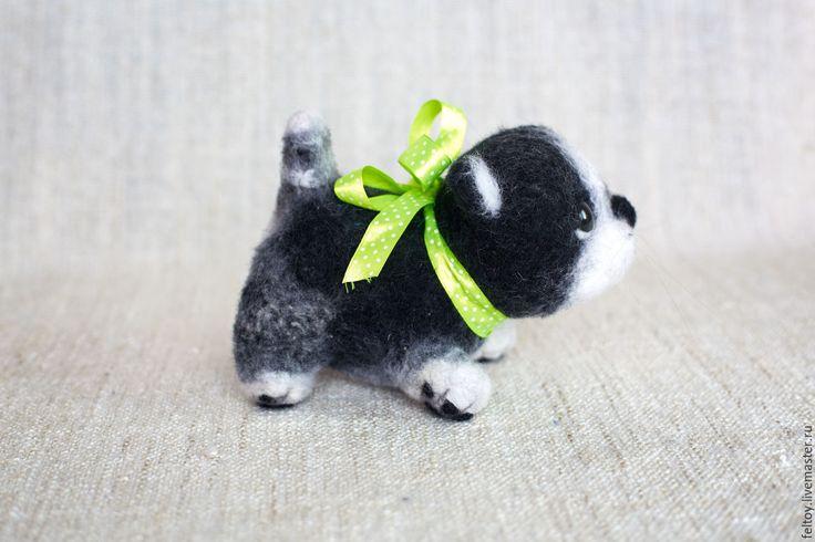 """Купить """"Зося"""" - котик из натуральной шерсти. - чёрно-белый, котенок, подарок для женщины, подарок девушке"""