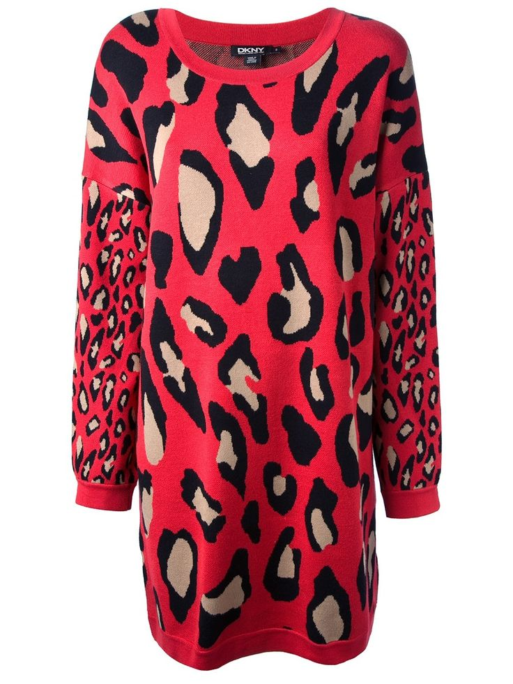 Dkny red leopard dress