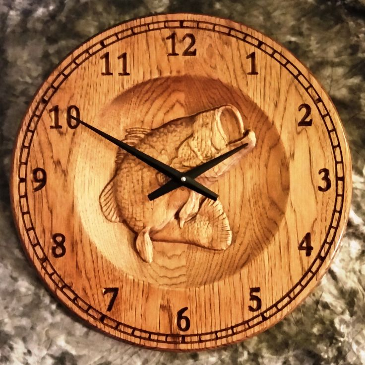 Large 16 Quot Solid Hickory Clock 3d Relief Carving Of A