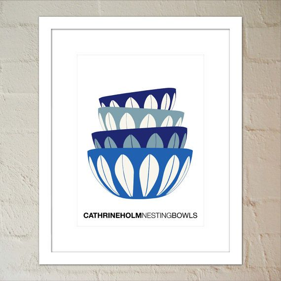 4 Stacked Blue Cathrineholm Bowls Kitchen Art by paper4download