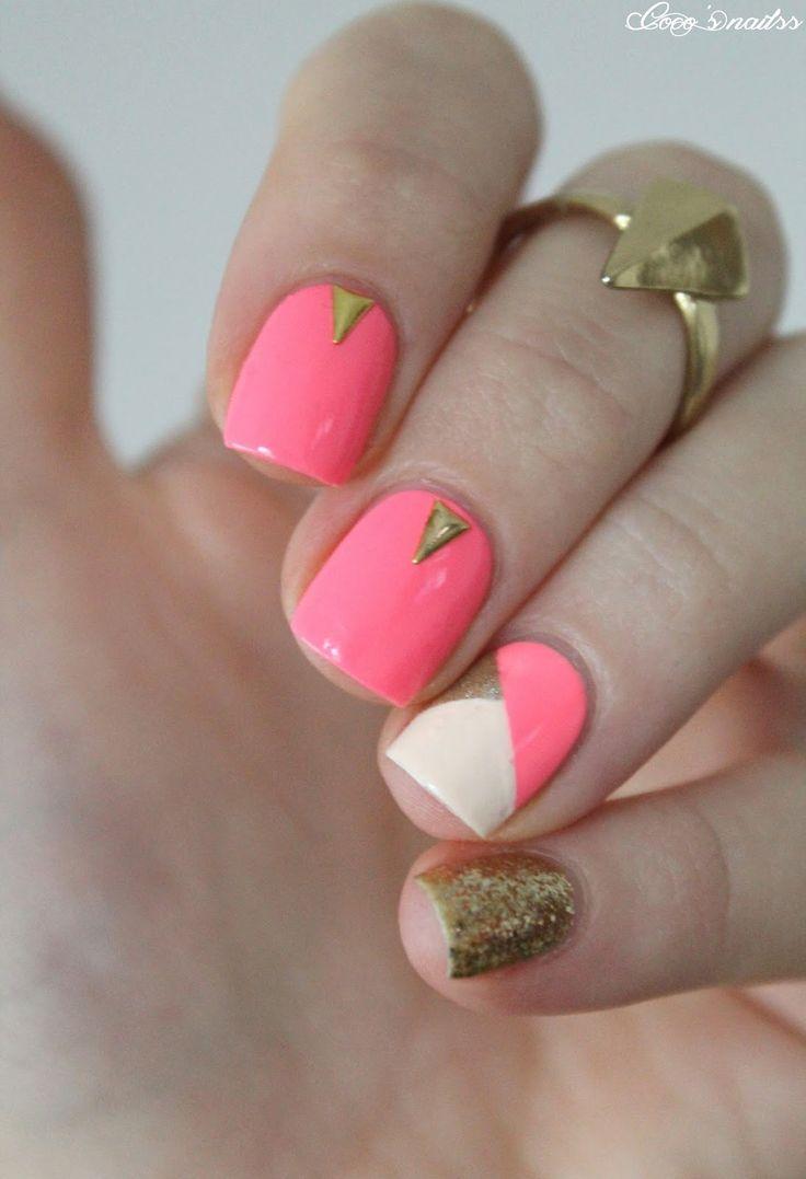 neon skittlette nail art #nails #cocosnailss #glitter nude