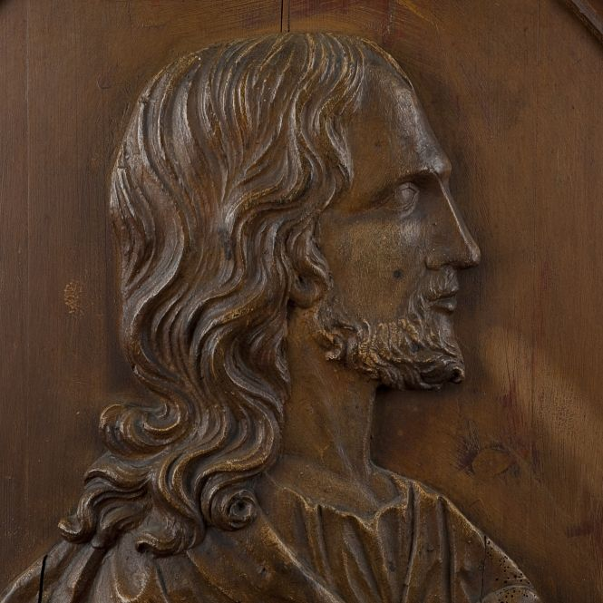 Wood bust of christ th century patinated high
