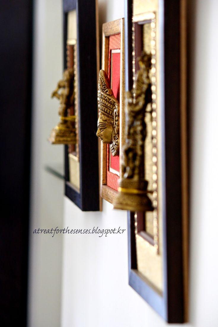 framed brass artifacts