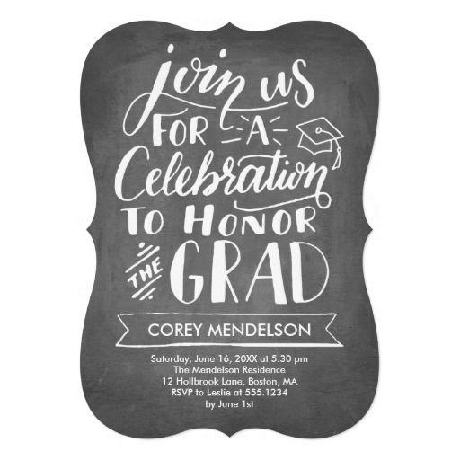 Hand Lettered Modern Chalkboard Graduation Party Card