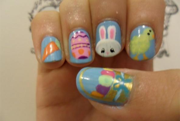 Inspiratie nagels voor pasen bloemen wortel konijn