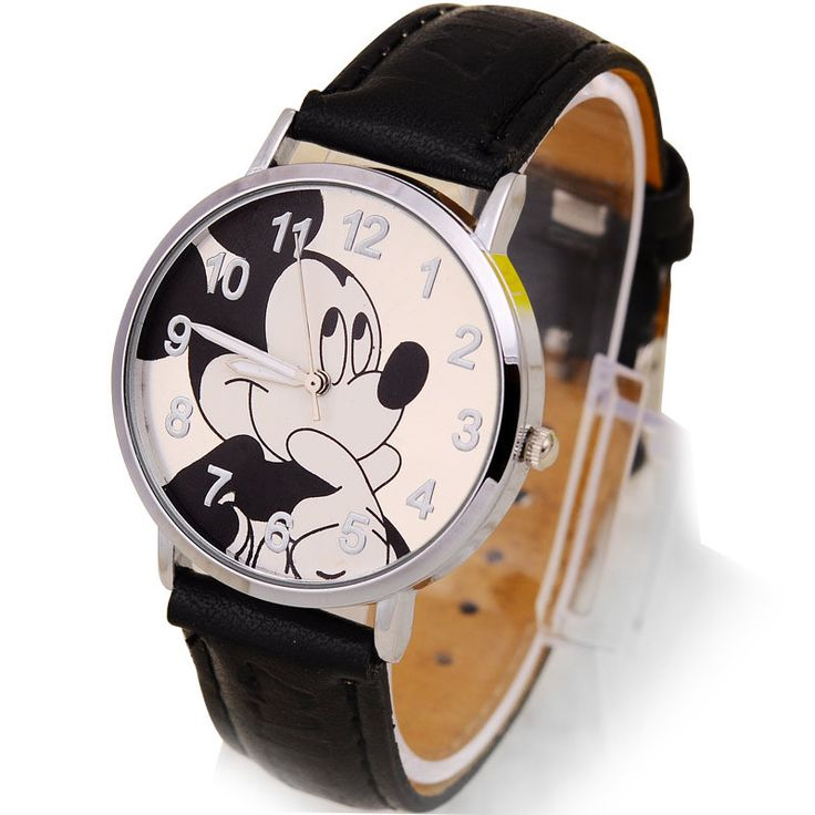 Stylish Mickey Mouse Watch - Black Leather band - Stainless Steel Face - Mickey Mouse Design