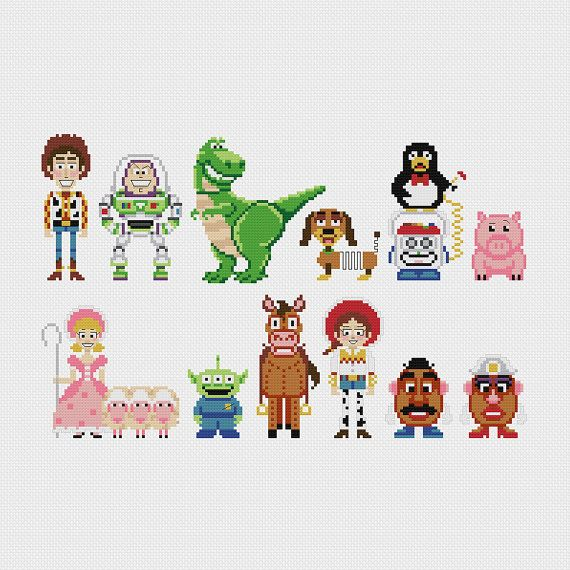 Disney Toy Story (Woody, Buzz Lightyear, Rex, Slinky Dog, Wheezy, Hamm, Bo Peep, Alien, Bullseye, Jessie, Mr & Mrs Potatohead) inspired cross stitch pattern PDF instant download includes:  A 9-page full color, easy-to-read PDF charts with color symbols and DMC thread legend Bonus: Cross-stitching Basics PDF  Pattern Details: Fabric: Aida 14 ct Grid Size: 173W x 110H Design Area: 12.07 x 7.57 (169 x 106 stitches) DMC Colors: 20 ________________________________  * Please note that these cha...
