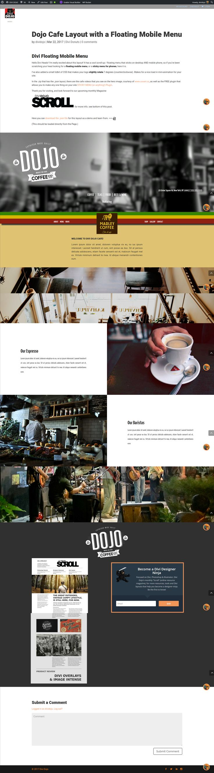 Dojo Coffee Shop - Divi layout with sticky menu for mobile