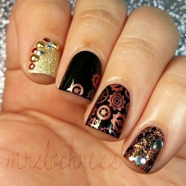 GREAT NAIL STAMPING TUTORIAL!!! By The Way... I Really Love These Steam Punk Nails =]
