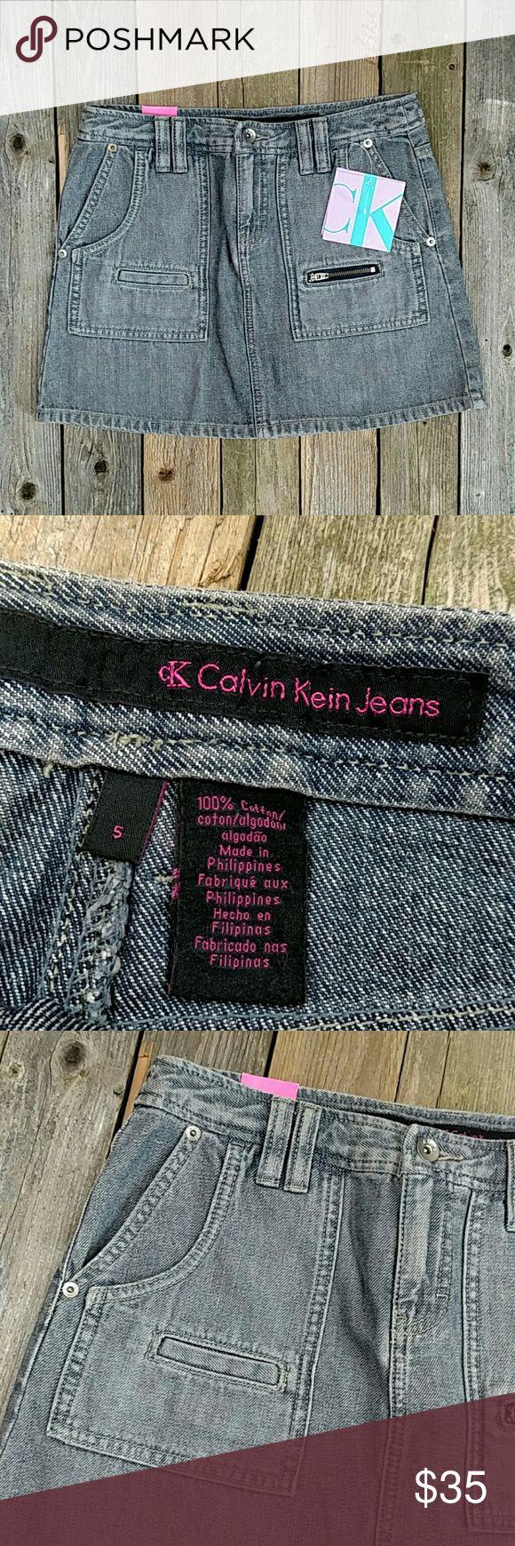 "CK Calvin Klein Jeans Denim Mini Skirt NWT Super cute denim mini with a throwback 90's feel! About 14"" waist to hem and 14.5"" across waist; laid flat. No stretch. No trades! NWT Calvin Klein Jeans Skirts Mini"