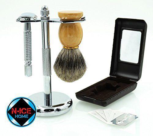 Wet Shave Kit - Shaving Kit Includes Pure Badger Shaving Brush, Chrome Stand & Double Edge Razor, with 5 Double Edge Razor Blades ; Premium Shave Set, Men Shaving Set, Valentines Day Gifts, Valentines Day Gifts for Him(premium Shaving Set)